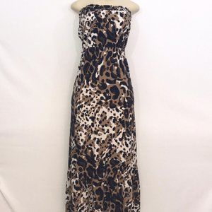 Brown, Black, & White Maxi Dress Small